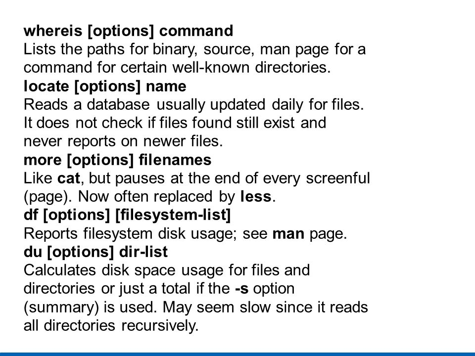 whereis [options] command